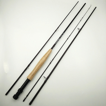 fly fishing rod 6 7 7 8 8 9 saltwater freshwater fly rod with a grade corkwood handle carp rod full aluminum reel seat Twinfish fly fishing rod 4 sections flying rods 3/4 power 8 feet 2.4m 5/6 power 9 feet 2.7m brown color fly fishing rod soft