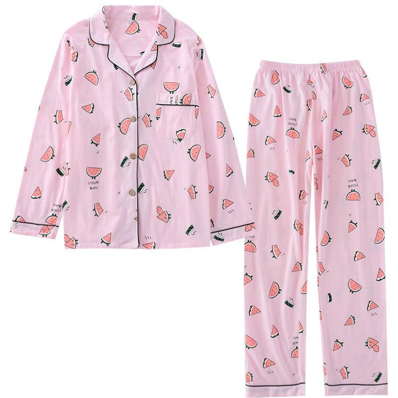 Summer New Knitting Cotton Pajama Set Long Sleeve Sleepwear Watermelon Print Pijama Mujer Full Length Pyjamas Women Home Clothes