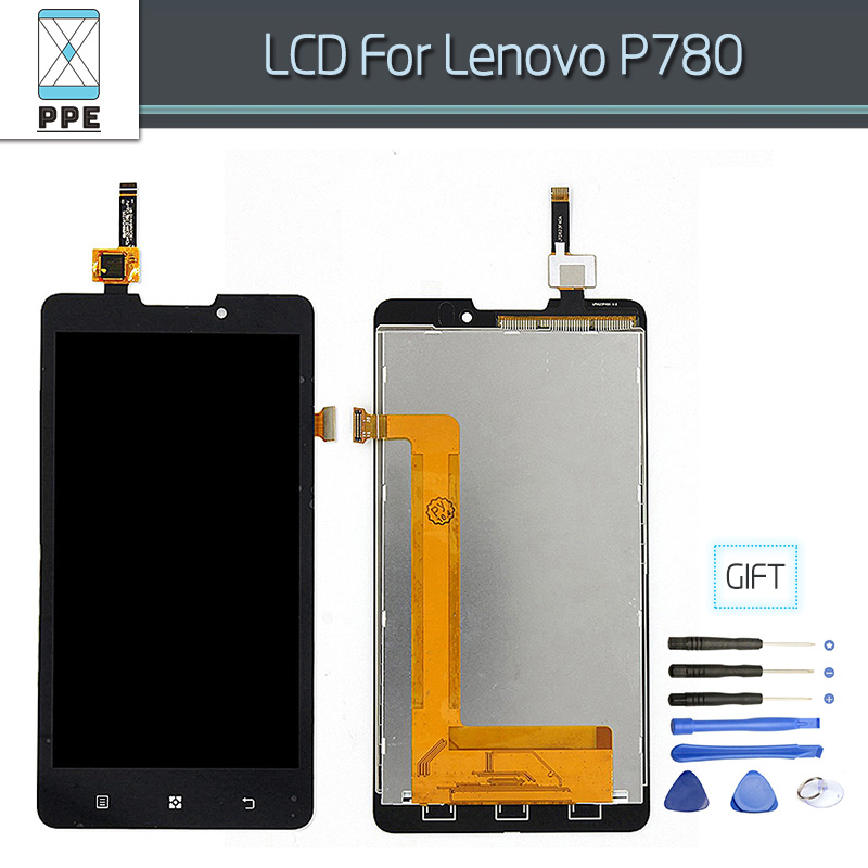 LCD Assembly For Lenovo P780 Lcd Display Touch Screen Digitizer Glass Pantalla Complete New Original Replacement+Open Tools white black original lcd for apple ipad mini 4 lcd display touch screen digitizer glass bezel complete assembly pantalla repair