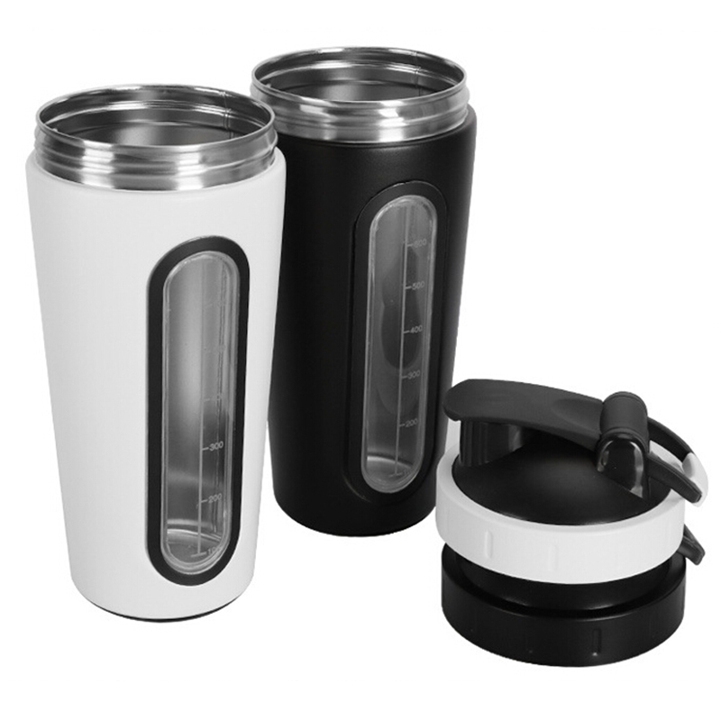 New Protein Powder Shakes Bottle Leakproof Lid Stainless Steel Shaker Water Bottle Auto Stirring Coffee Glass ...