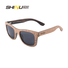 New Style polarized lens Cork wooden Sunglasses men Cork women sunglasses women square wood SH6016