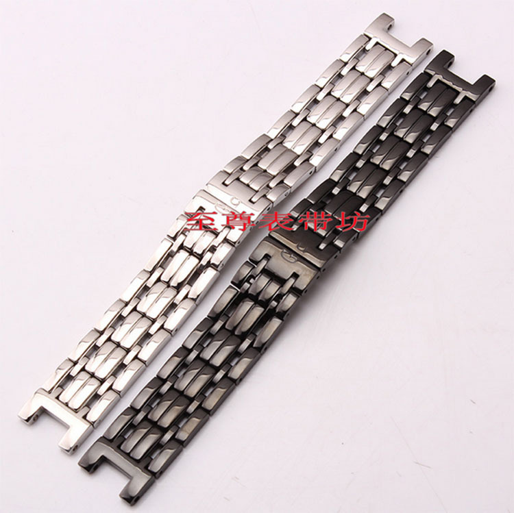 купить High Quality Black silver concave end watches Bracelet Watch Band solid link Buckle deployment Strap Watchbands 22mm(lug 13mm) по цене 1353.15 рублей