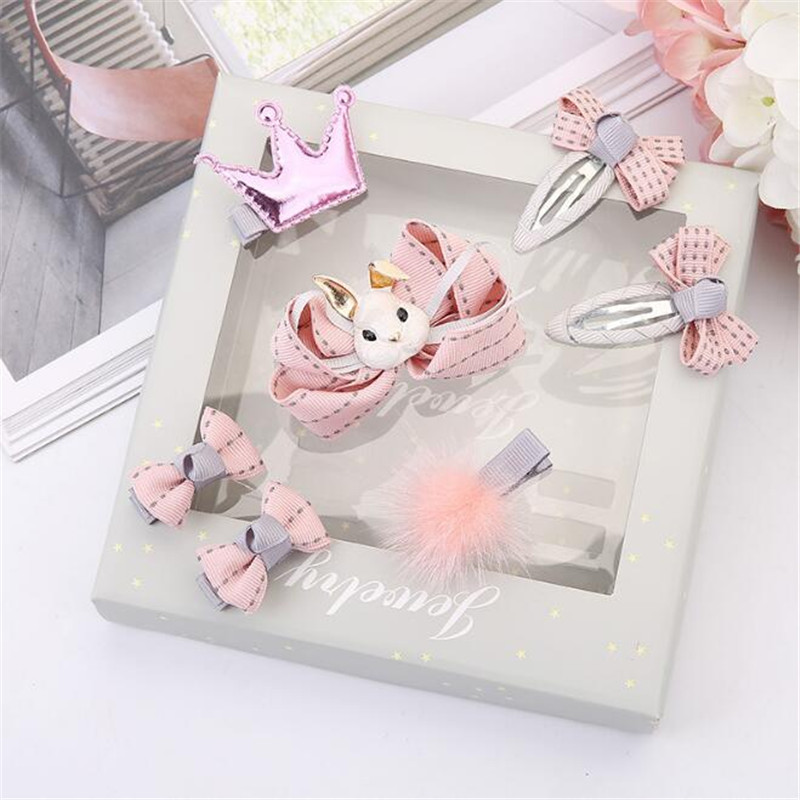 1set=7 pcs/3 pcs New Lovely Children Girls Rabbit Crown Hair Accessories Set with Box Kids Cute Hair Clips   Headwear   Dropshipping