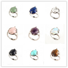 FYJS Unique Silver Plated Water Drop Tiger Eye Stone Resizable Finger Ring  Lapis Lazuli Jewelry