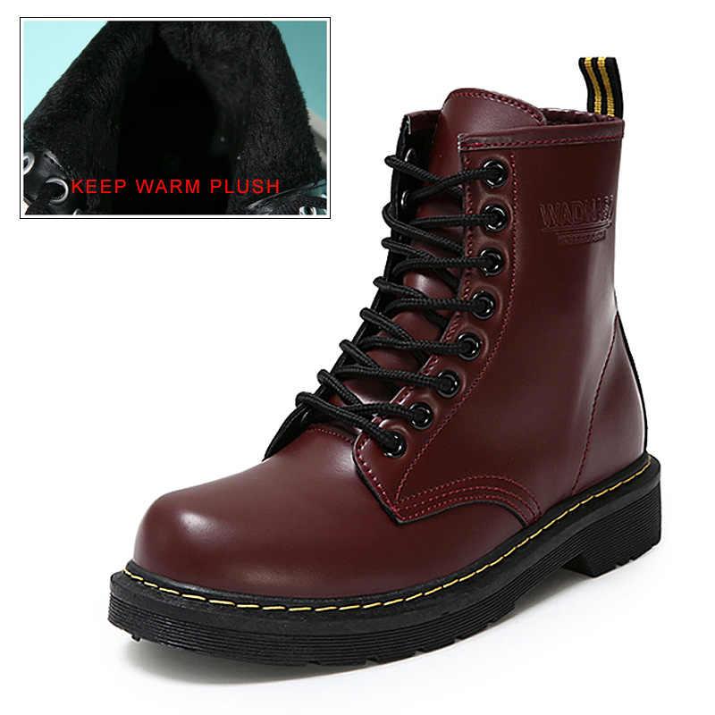Moda yarım çizmeler Kış yarım çizmeler Pu Deri Kadın Çizmeler iş ayakkabısı Yuvarlak Ayak Dantel-up Kadın Ayakkabı Siyah Kadın