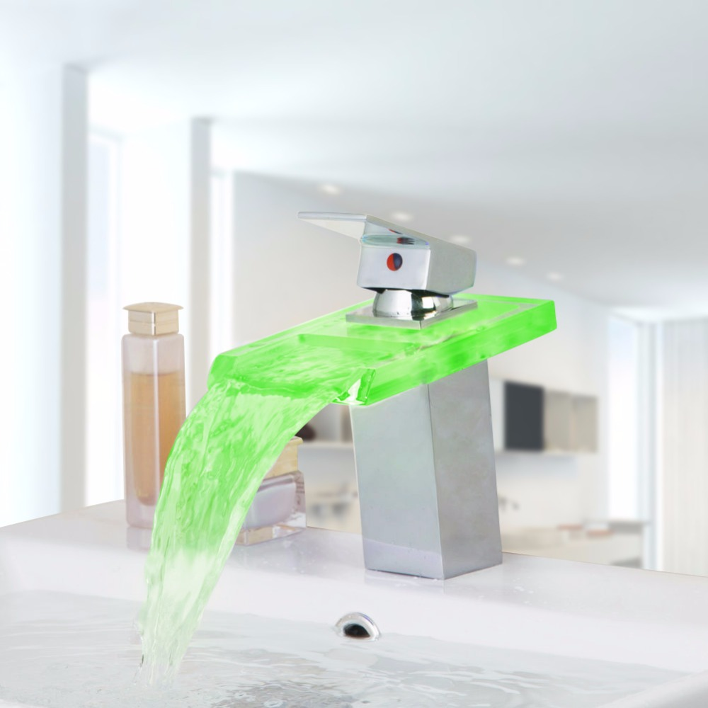 Water LED Bathroom Tap Faucet Temperature Color Changing Waterfall Deck Mount Bathroom Sink Faucet