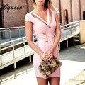 Bqueen 2017 vaina asimétrico profundo cuello en v de metal backless vendaje dress