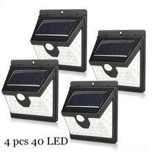 40 светодиодный светильник на солнечных батареях, лампа на солнечных батареях, PIR датчик движения, солнечный светильник s, открытый водонепроницаемый садовый декор, настенные уличные лампы