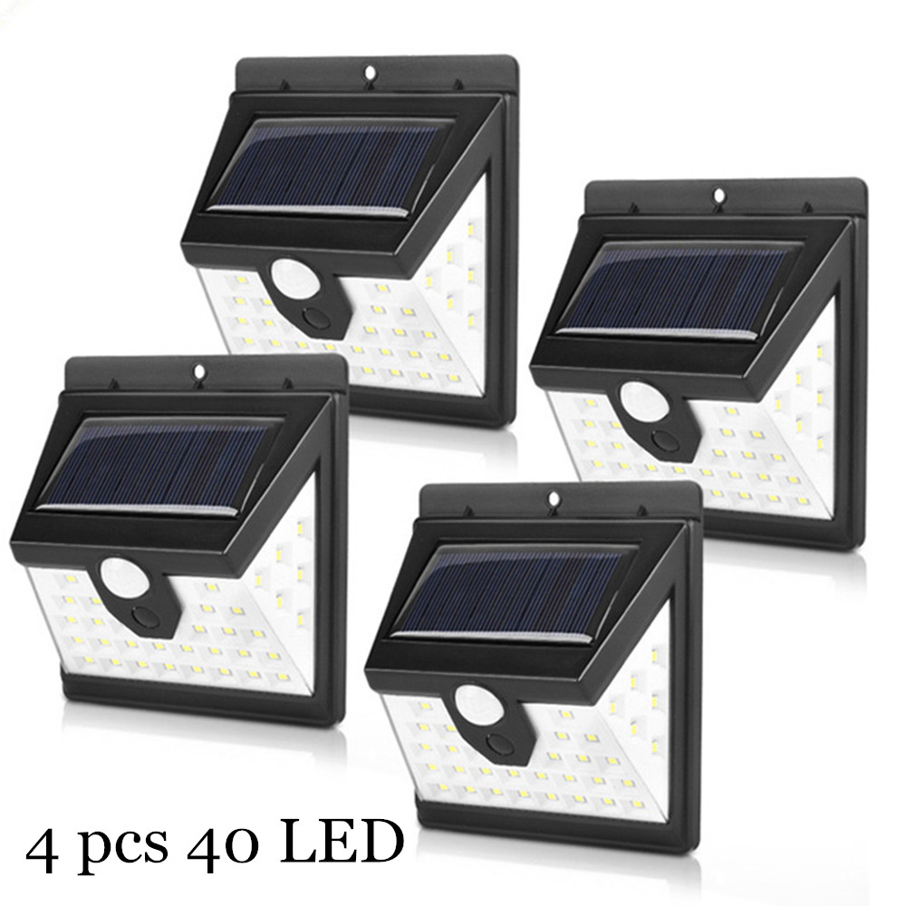 40 LED Solar Light Solar Powered Lamp PIR Motion Sensor Solar Lights Outdoor Waterproof Garden Path Decoration Wall Street Lamps
