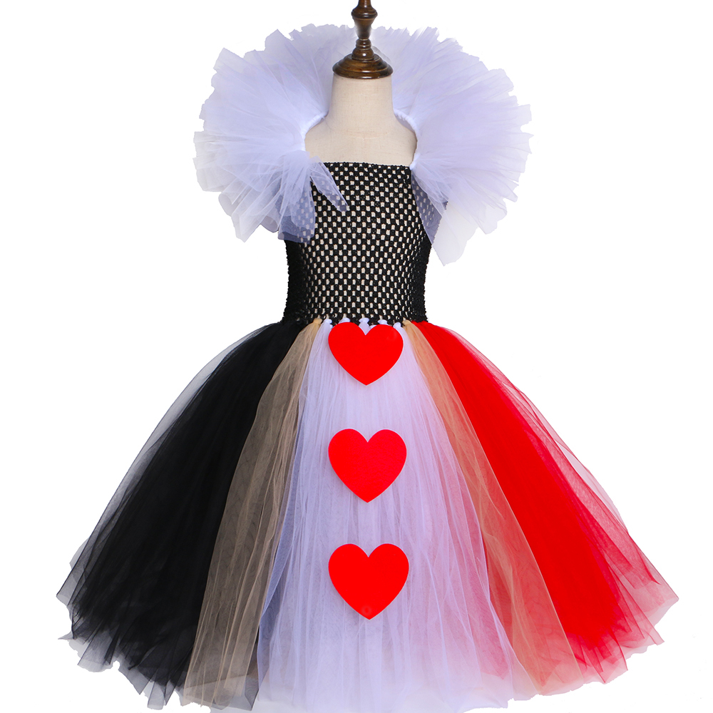 Black Red Queen Of Hearts Tutu Dress Alice In Wonderland Halloween Cosplay Costume For Girls Kids Birthday Party Dress 2-12 Year