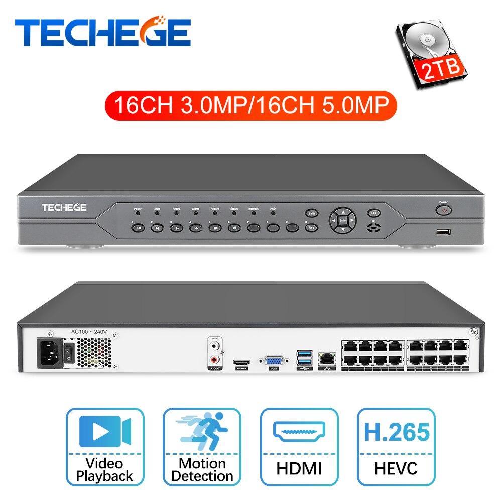 Techege 16CH 5MP POE NVR 48 V Réel PoE NVR 5MP 3MP 4 K Réseau Enregistreur Vidéo pour PoE IP caméras P2P XMeye CCTV Système Onvif FTP