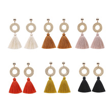 Bohemian Statement Big Dangle Earrings for Women Charm Fashion Creative  tassel Weaving Lafite lady eardrop