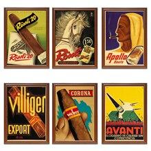 Vintage 1900s tabaco cigarros cartel Apolo Bouts Kraft Posters pinturas clásicas de lona pegatinas de pared decoración del hogar regalo