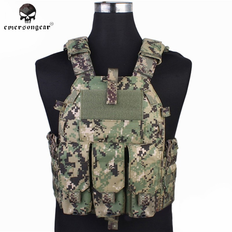 Emerson Tactical Vest with Airsoft 094K M4 Magazine Pouch Hunting Paintball Vest Chest Protective Combat Gear EM7356 AOR2 airsoft adults cs field game skeleton warrior skull paintball mask