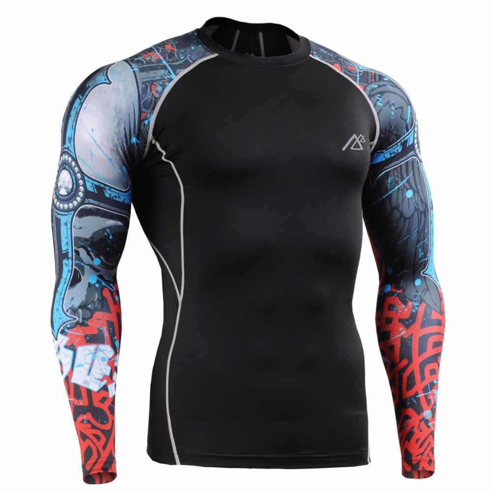 Leben auf der spur Hautengen Fitnesstraining Sport Anzug Workout Fitness Bekleidung Set Männer Compression Shirts & Strumpfhosen Set CPD/P2L B73 - 3