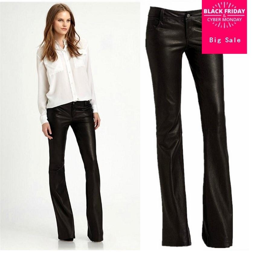 XS-XXL marque de mode Pu cuir pantalon 2018 printemps femmes de haute qualité lavage à l'eau taille moyenne Slim Flare pantalon w1811 livraison directe