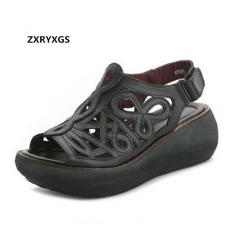 ZXRYXGS Brand Sandals Platform Shoes Woman Wedges Sandals 2019 New Hollow Summer Sandals Retro Cow Leather