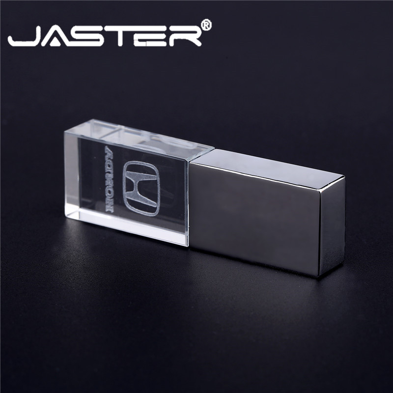JASTER Honda Crystal + Metal USB Flash Drive Pendrive 4GB 8GB 16GB 32GB 64GB USB 2.0 External Storage Memory Stick U Disk
