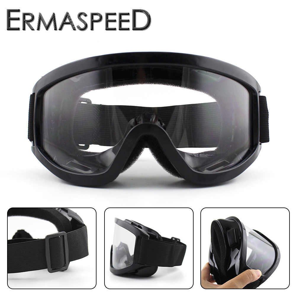 Black Motorcycle Goggles Windproof Dustproof Motocross Off Road Hiking Cycling Dirt Bike Racing Eye Glasses Unisex Clear Lens