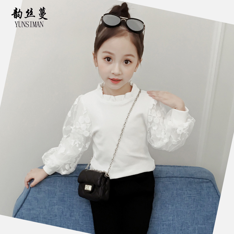New Autumn Kids White Lace Tee Shirt Long Sleeve for Girls 7 8 9 10 11 12 Years Children Cute Lace Puff Sleeve Cotton Tops 5M20A sanctuary new tan long sleeve lace inset tee xs $49 dbfl