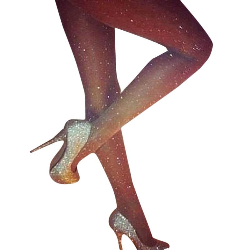 Sexy Shinny Rhinestones Womens Sheer Mesh Tights Pantyhose Ladies Seamless Elastic Nylon Stockings Tights Hosiery Collant Femme