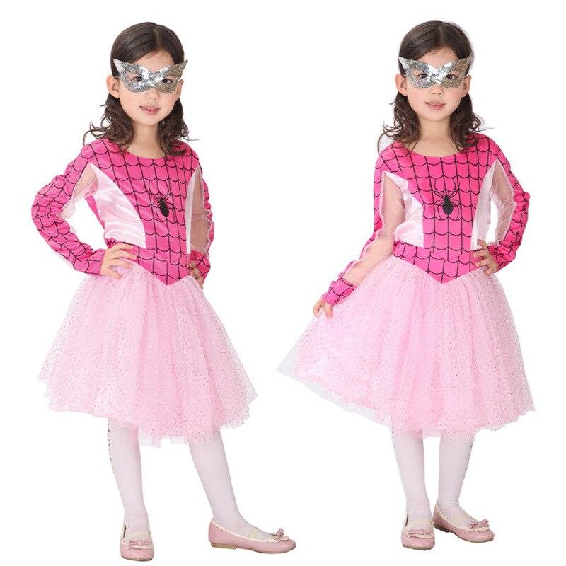 Envío libre niños Spiderman muchacha traje mascarada araña Niñas ...