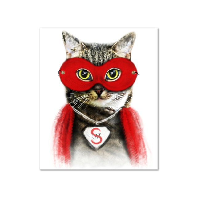 Well Design Canvas Painting Cat Wall Art Picture Of Cool Cat Wearing Super  Hero Clothes For