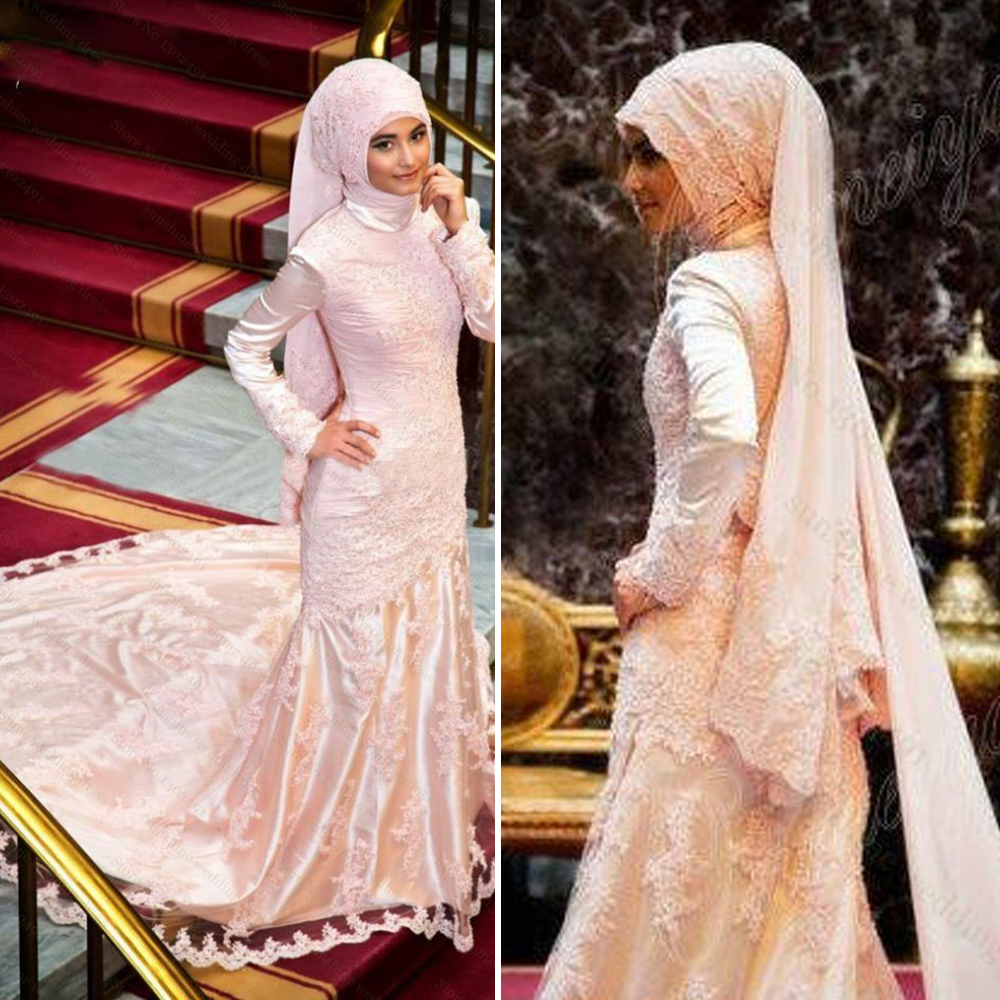 Unique Pink Satin Lace Mermaid Muslim Wedding Dresses High