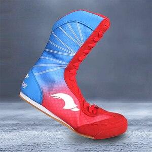 Zapatos de lucha de boxeo profesional, suela de goma, zapatillas de combate transpirables, botas de entrenamiento con cordones, talla grande 35-46