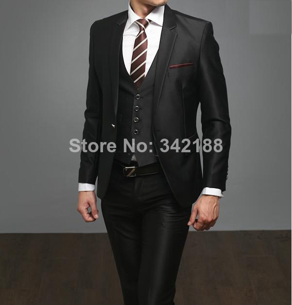 custom made high quality 3 piece black men\'s suits wedding suits ...