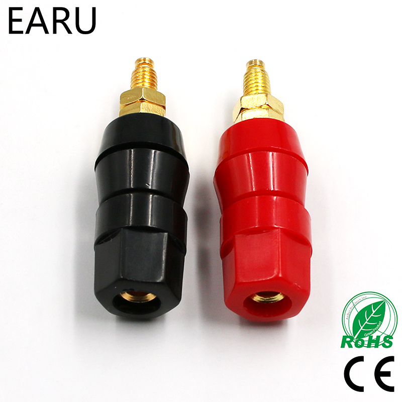 цена на 1pair(black+red) Terminals Red Black Connector Amplifier Terminal Binding Post Banana Speaker Plug Jack Adapter Socket