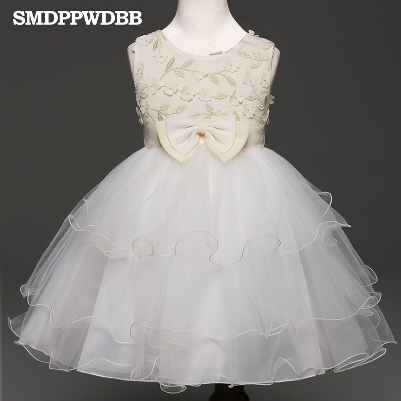 SMDPPWDBB Fashion Flower Girls Dress Bow Tie Ribbon Wedding Pageant Crew Neck Summer Princess Party Dresses Clothes Size 3-10 new christmas flower girls dress lace embroidery trumpet wedding pageant birthday summer princess party dresses clothes 3 12yrs