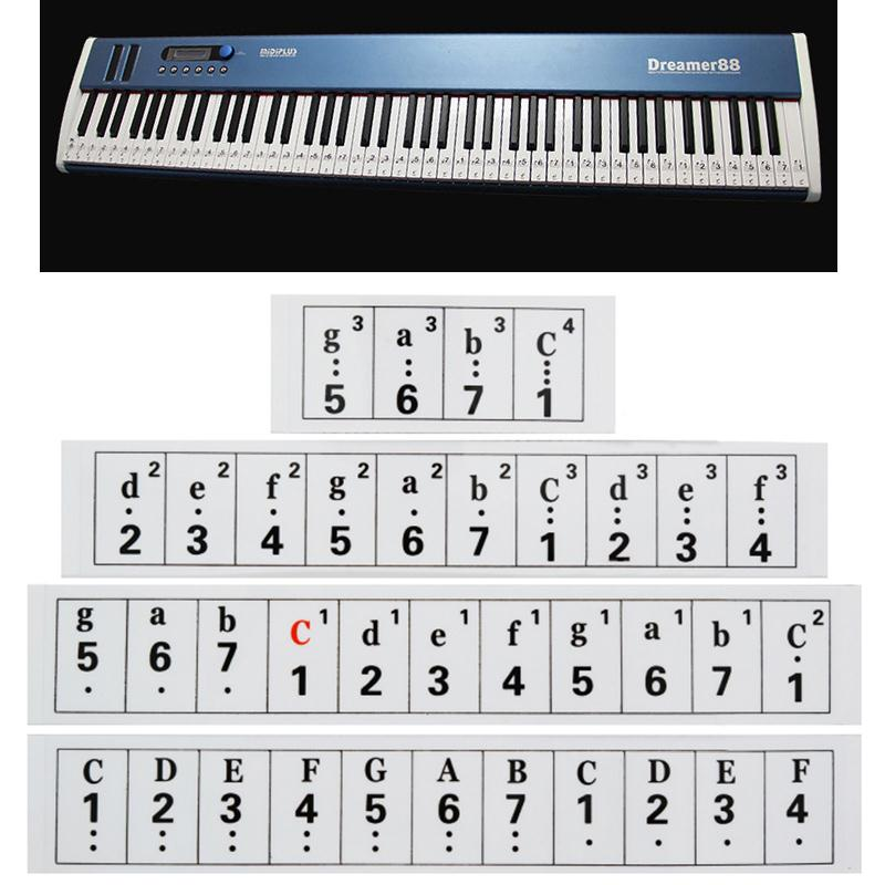 thickness transparent piano keyboard sticker 66 88 key electronic keyboard 88 key piano. Black Bedroom Furniture Sets. Home Design Ideas