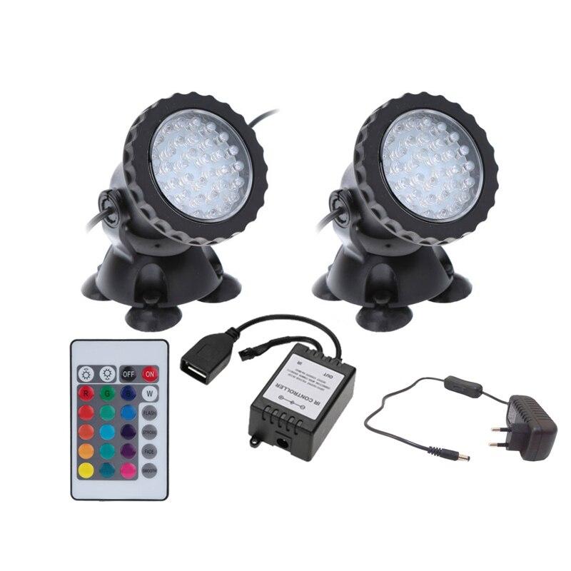 цена 2 in 1 36 LED Remote Control Submersible Underwater Lamp Spot Light For Garden Fish Tank Pond Fountain Aquarium led light MB102 в интернет-магазинах