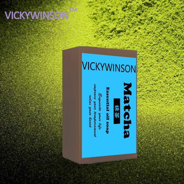 VICKYWINSON Matcha Handmade Soap Oil Control Hand Made Soap Acne Treatment Facial Cleanser Whitening Moisturizing 50