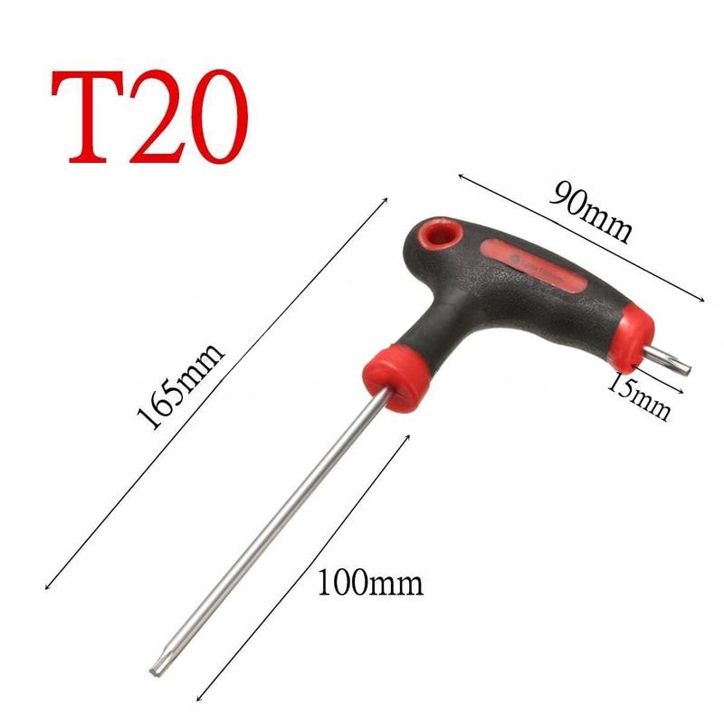 DWZ 1pc T10/15/20/25/30/40 T-Handle Grip Torx Hex Screwdriver Allen Key Wrench Tool