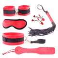 Sex Bondage Kit Set 6pcs BDSM Bondage Restraint Adult Games Sex Toys for Couples Hand Cuffs Collar Nipple Clamps Eye Mask Whip