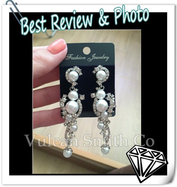 0d09282f66c8 Pendientes largos de perlas de boda para novias con diamantes de imitación  de cristal pendientes largos de oro joyería de moda para mujer ersh95 en ...