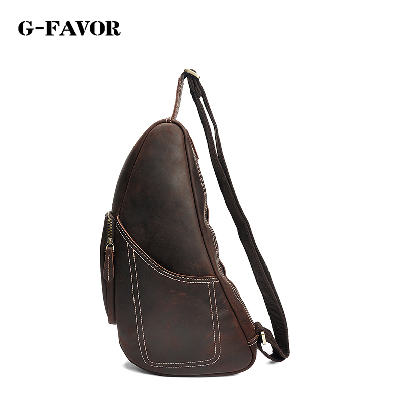 New High Quality Vintage Casual Crazy Horse Leather Genuine Cowhide Men Chest Bag Small Messenger Bags For Man new high quality vintage casual 100
