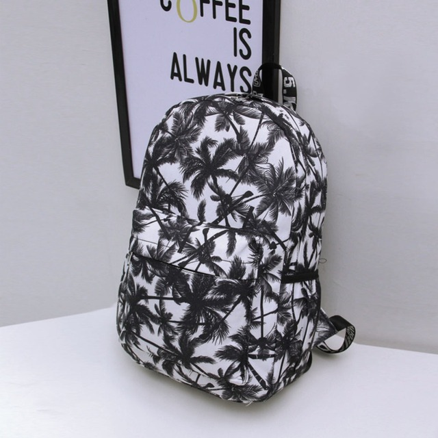 Hot 2016 Women's Canvas Backpack Graffiti Coconut Palm Rucksack for Teenage Girls School Bag Backpacks Bolsa Feminina Carteira