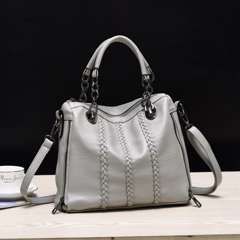 ФОТО European and American famous brand Women's casual tote bag Fashion Patent leather high-capacity shoulder bag Chain handbags