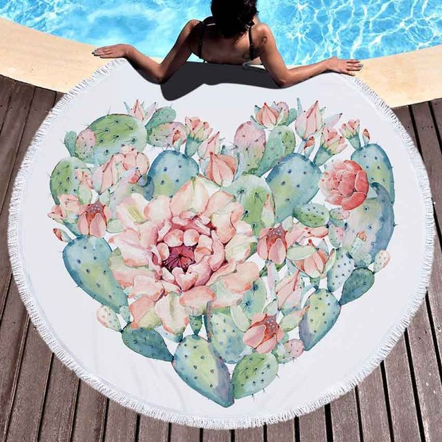 WHQ 150*150cm Pineapple Cactus Print Round Beach Towel Microfiber SHOWER BATH TOWELS Summer Swimming Shawl Yoga Mat Tassel