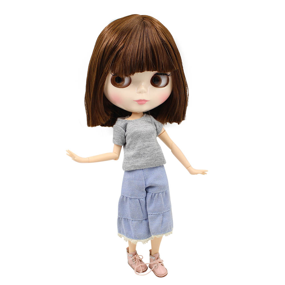Blyth 1 6 Joint Body Nude Doll brown Straight short Hair with bangs natural Skin 30CM