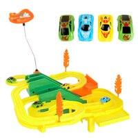 1 Conjunto de Mini DIY Montar Pista de Corrida com o Carro Crianças Handwork Iluminação Música Som Do Carro de corrida Jogo de Corridas de Carro Elétrico Pista brinquedo