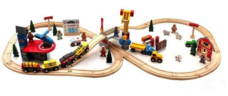 70 pièces bricolage En Bois ferroviaire Ferroviaire Tom train en bois voie de train en jouet blocs de construction Ensemble train jouets cadeaux jouets pour enfants pour enfants