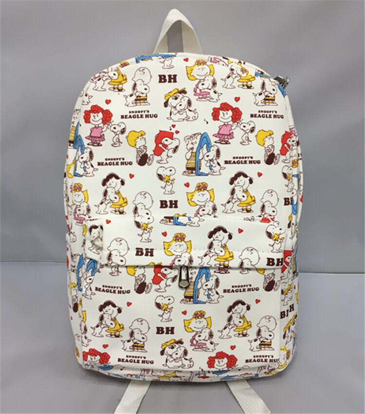 New Snopy Anime Canvas Backpack Fashion Zipper Printing Backpacks For Teenage Girls School Bag Women Travel Bag 15 Students Bag