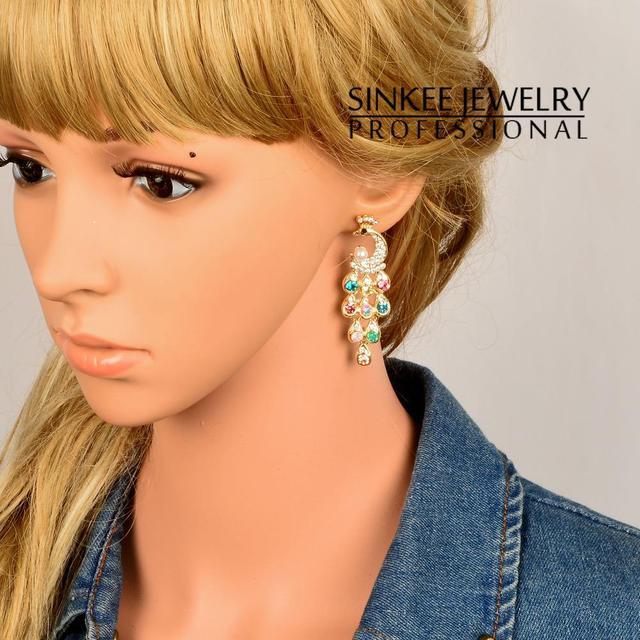 Gold Plated Peacock Long Dangle Earrings For Women