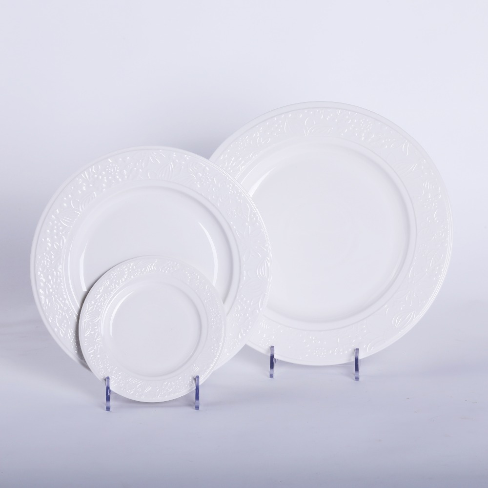online buy wholesale white modern plates from china white modern  -  pcsset round pure white flower engraving ceramic plate dish for dinning pieces