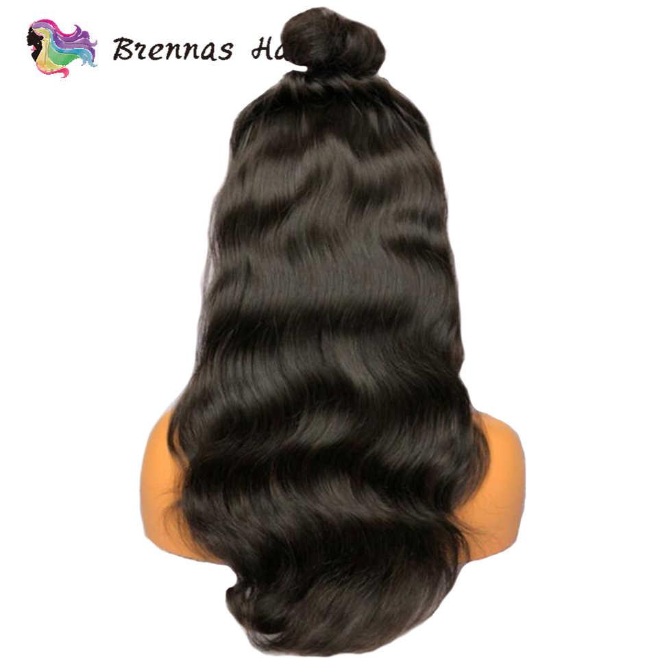 Человеческие волосы парик натуральный черный цвет объемная волна со шнуровкой спереди парик с ребенком волос отбеленные узлы естественно волосяного покрова предварительно сорвал