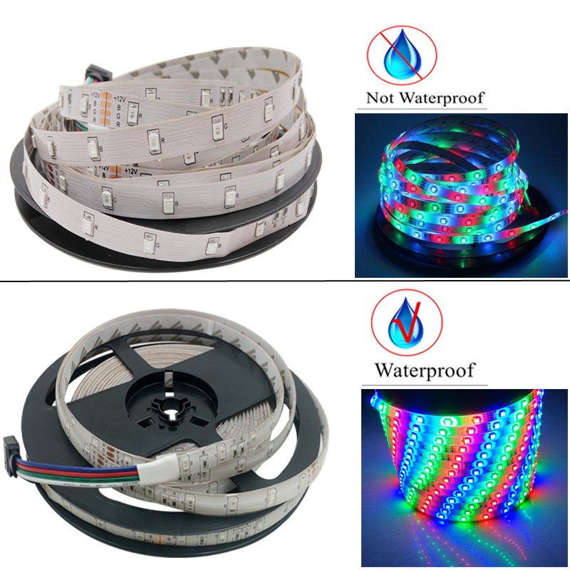 RGB LED Strip Flexible Waterproof LED Strip Light DC 12V 5M SMD 2835 RGB Diode Tape LED Ribbon With Controller Adapter